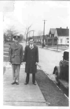 Richard and Clifford Frohmberg in New Haven, Connecticut at Richard's 2nd Lt. Commission. April 20, 1943.